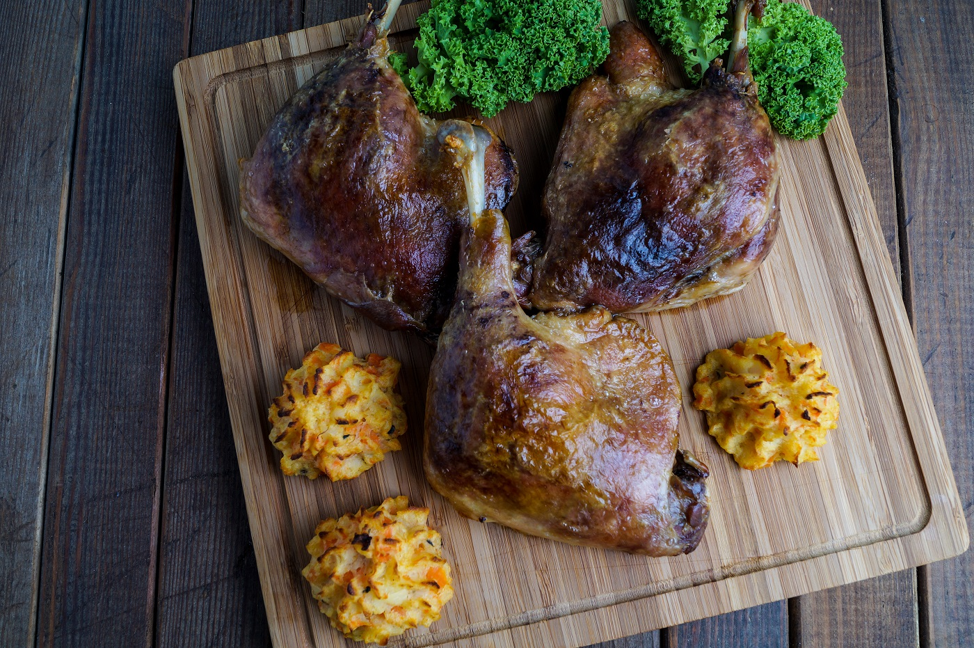 roasted crispy duck leg